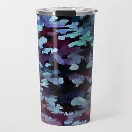 Foliage Abstract Camouflage In Aqua Blue and Black Travel Mug
