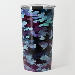 Foliage Abstract Camouflage In Aqua Blue and Black Travel Mug