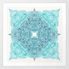 Teal Tangle Square Art Print