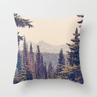 trip Throw Pillows featuring Mountains through the Trees by Kurt Rahn