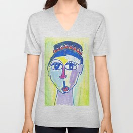 Crazy Face Blue Hair Unisex V-Neck