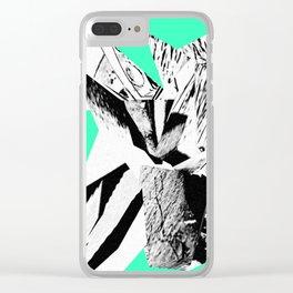 Green Glitch Scrunch Clear iPhone Case
