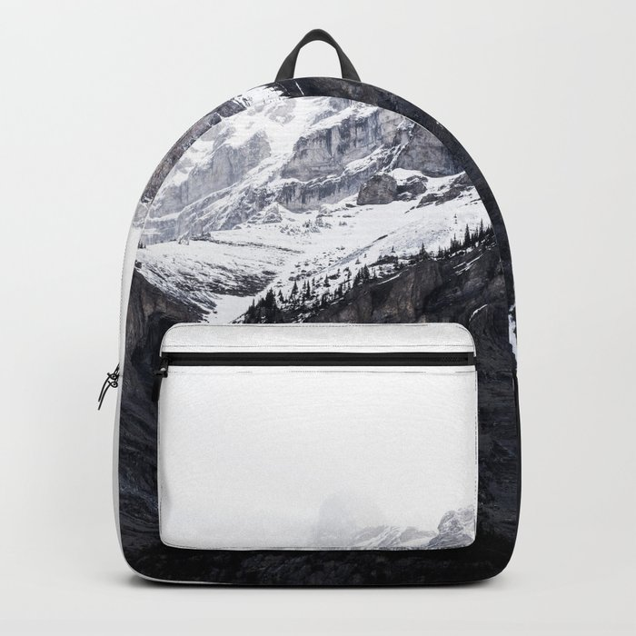 Moody snow capped Mountain Peaks - Nature Photography Backpack