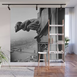 Gargoyle over looking the Main River, Frankfurt, Germany black and white photograph - photography by Karl Lämmel Wall Mural