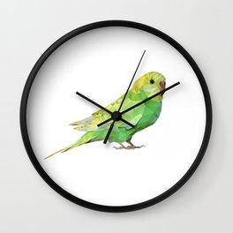 Geometric green parakeet Wall Clock