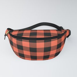 Jumbo Living Coral Color of the Year Orange and Black Buffalo Check Plaid Fanny Pack
