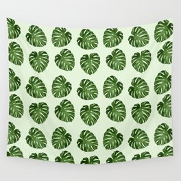 Palm Leaves, Leaf Pattern - Green Wall Tapestry