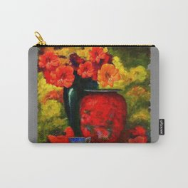 RED-ORANGE AMARYLLIS RED VASE STILL LIFE Carry-All Pouch
