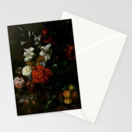 "Ernest Stuven ""Poppies, lilies, roses and other flowers in a glass vase on a draped marble ledge"" Stationery Cards"