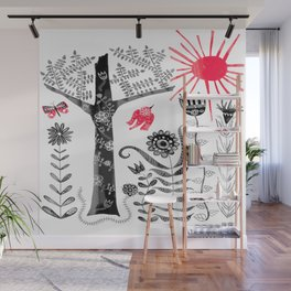 Whimsical Folk Art Red Bird Wall Mural