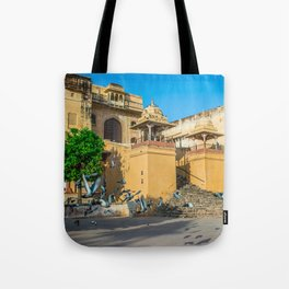 Pigeons at Amer Fort, Jaipur Tote Bag