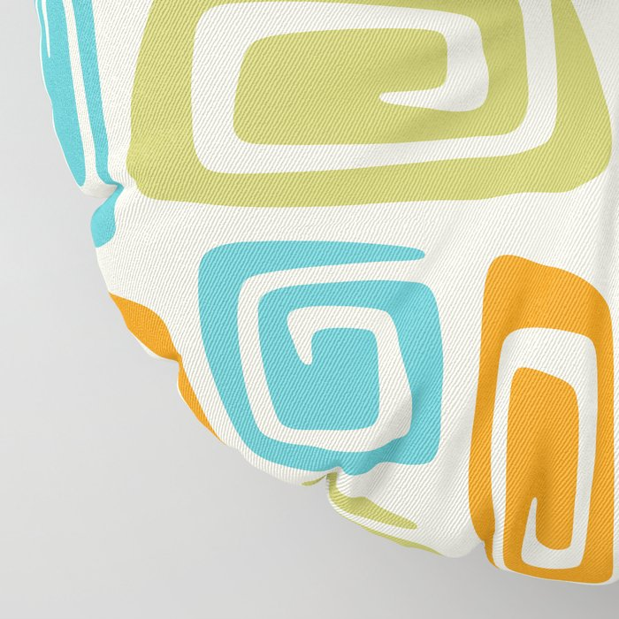 Mid Century Modern Cosmic Abstract 738 Orange Blue and Green Floor Pillow