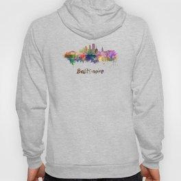Baltimore skyline in watercolor Hoody