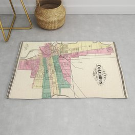 Map of Columbus 1872 Rug