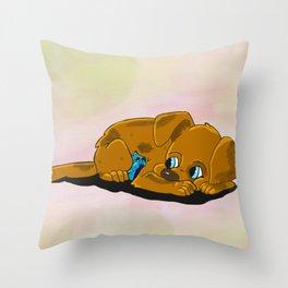 Cartoon Puppy and Bird Cuddling Throw Pillow