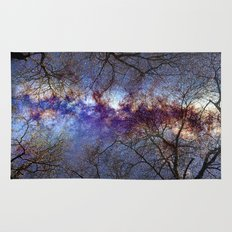 Fantasy stars. Milkyway through the trees. Rug