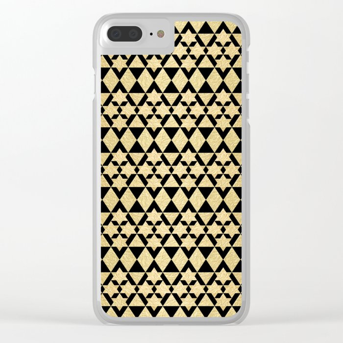 Black and Gold Geometric Pattern 4 Clear iPhone Case