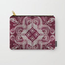 Dark cherry red dirty denim textured boho pattern Carry-All Pouch
