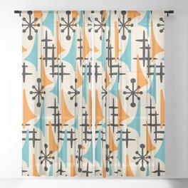 Mid Century Modern Atomic Wing Composition Orange & Blue Sheer Curtain
