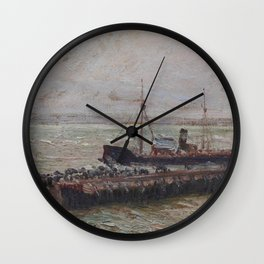 Camille Pissarro - Entrance to the Harbour at Le Havre, Overcast Sky Wall Clock