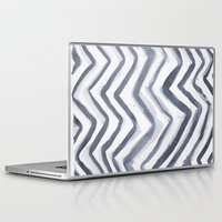 water colour Laptop & iPad Skins featuring Black Water Colour Chevrons by Stephen John Bryde