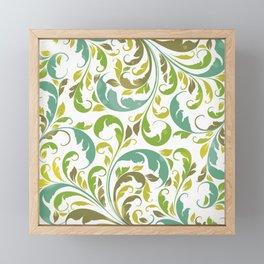 Whimsical Leaf Pattern in Green and White Framed Mini Art Print