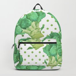 Broccoli on Green dotted Background Backpack