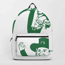 Green Leprechaun Standing by Pot of Gold Drawing Backpack