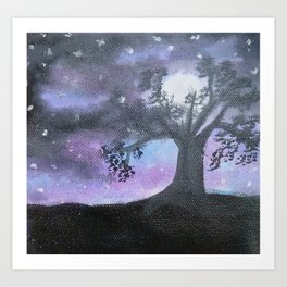 Handmade Canvas Painting : Moonlight tree Scenery Art Art Print