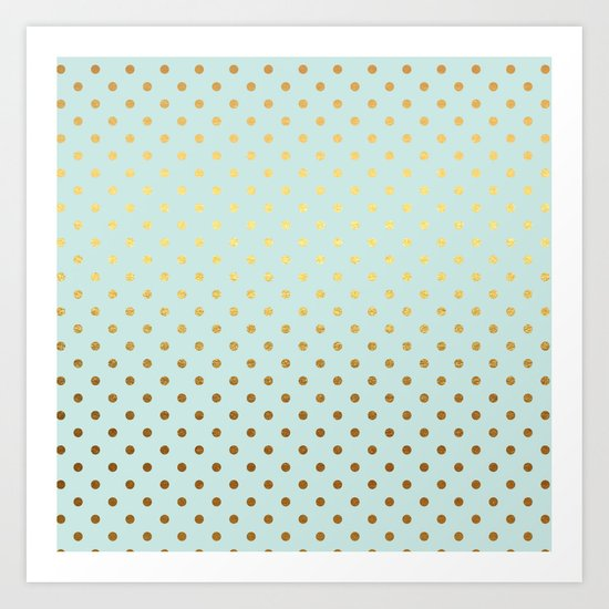 Gold polka dots on aqua background - Luxury turquoise pattern #Society6 Art Print