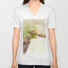 """Yellow dragonfly """"Sympetrum striolatum"""" Unisex V-Neck"""