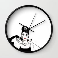 audrey Wall Clocks featuring Audrey by Clementine Petrova