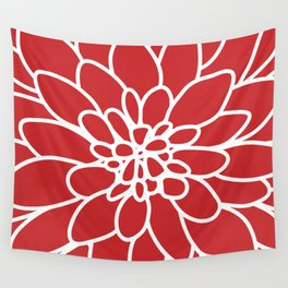 Red Modern Dahlia Flower Wall Tapestry