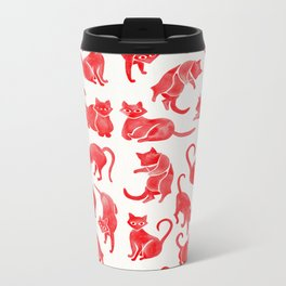 Cat Positions – Red Palette Metal Travel Mug