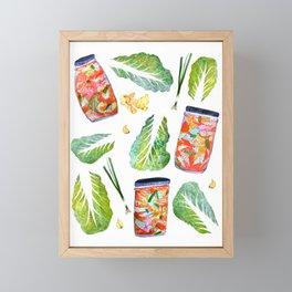 Kimchi Ingredients Spicy Fun Watercolor  Framed Mini Art Print