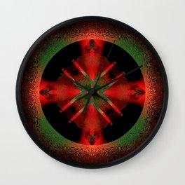 Spinning Wheel Hubcap in Scarlet Wall Clock