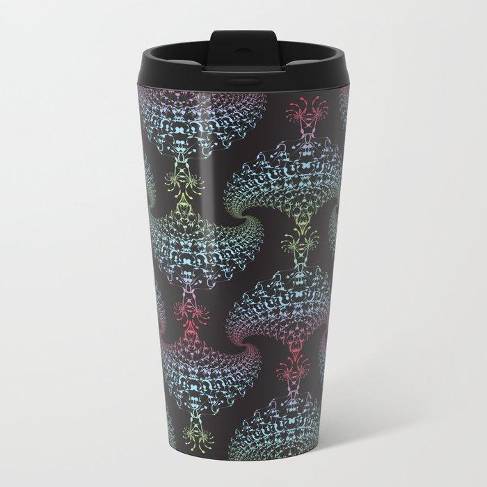 Tribal Eagle Rainbow Pattern on black Metal Travel Mug