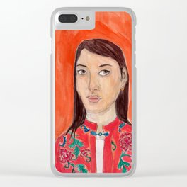 Lady with a chinese tunic Clear iPhone Case