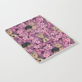 Yorkie cherry blossoms yorkshire terrier cute dog pattern pet friendly dog art Notebook