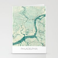 philadelphia Stationery Cards featuring Philadelphia Map Blue Vintage by City Art Posters