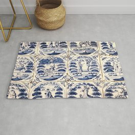 Dutch Delft Blue Tiles Rug