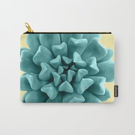 Cyan Succulent Plant on Yellow Carry-All Pouch