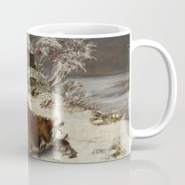 Fox in the Snow by Gustave Courbet Coffee Mug
