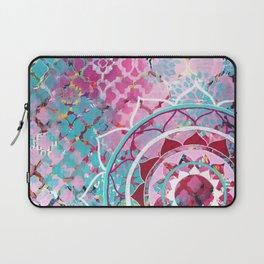 Pink and Turquoise Mixed Media Mandala Laptop Sleeve