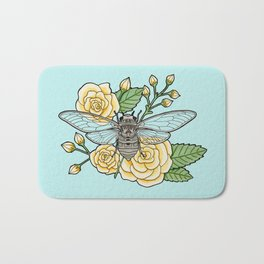 Cicada with Roses - Blue Bath Mat