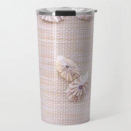 Urchins and seashells nautical design on textured background. Travel Mug