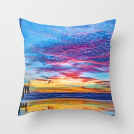 Solstice sunset at Newport Pier Throw Pillow