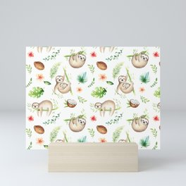 Tropical Sloths Pattern Mini Art Print