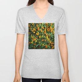 Potpourri Of Orange And Yellow Chili Peppers Garden Unisex V-Neck