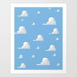 Cartoon Cloud Pattern Art Print